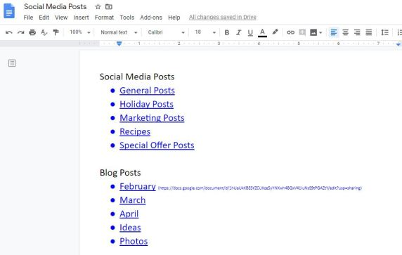 Screenshot of a Google Doc