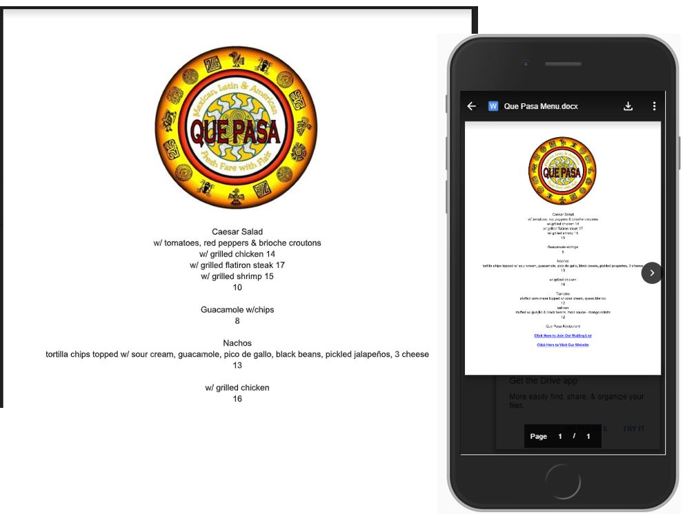 Screen shot of Online Menu and Mobile phone non-mobile friendly version