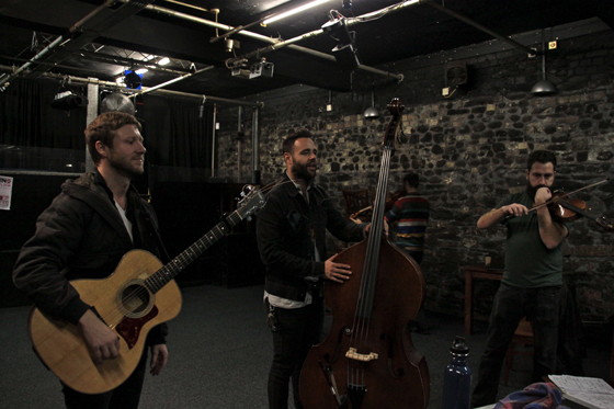 Rehearsal before first show of the tour in Cardiff at Solus
