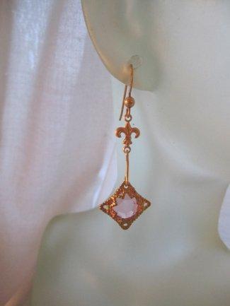 https://www.etsy.com/listing/215522621/pink-golden-earrings-dainty-dangles?