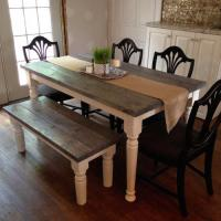 Cottage Chic Kitchen Table and Bench | Forget Them Not ...