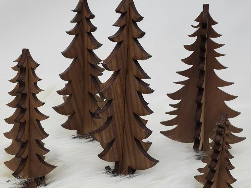 3D wood trees walnut plywood