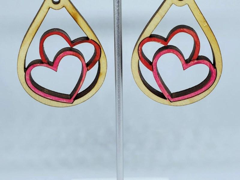 Double Heart Dangly Earrings