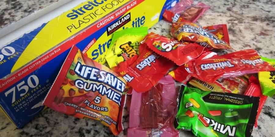 Pile of saran wrap and candy