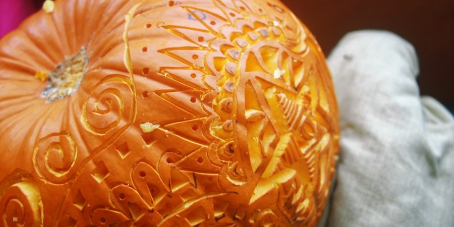 Beautifully carved pumpkin
