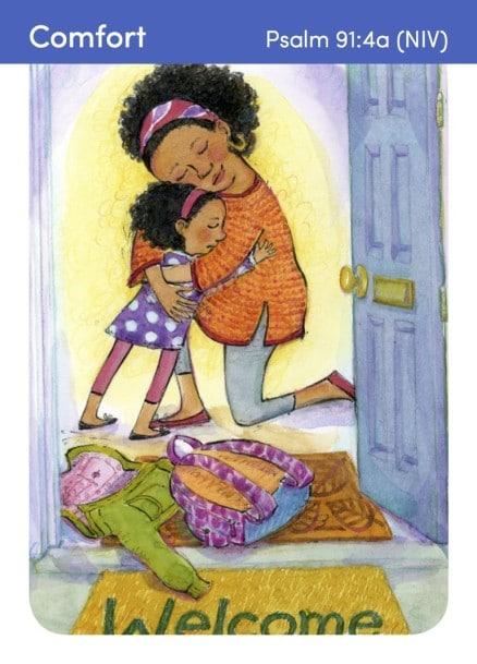 Bible Flash Cards Mom & girl doorway back