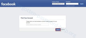 Reset your Facebook password step 2