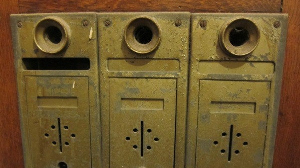I Saw This Antique Brass Three Unit Mailbox With Old Fashioned Speaking S And Doorbells In An Apartment Building That Was Built 1904 The Ukrainian