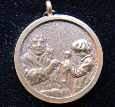 NORMAN ROCKWELL THE DOCTOR AND THE DOLL Original Gold Pendant
