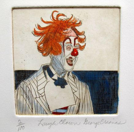 "GEORGE CRIONAS ""LAUGH CLOWN"" Hand Signed Limited Edition Color Etching"