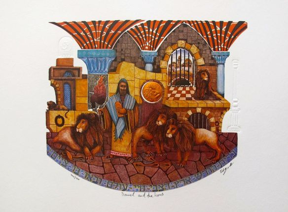 """AMRAM EBGI """"DANIEL AND THE LIONS"""" Hand Signed Foil Embossed Lithograph"""