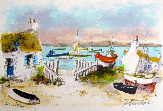 Urbain Huchet COTTAGES IN CHAUSEY Hand Signed Limited Edition Lithograph