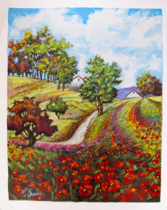 "MARK BRAVER ""SPRING POPPIES"" Hand Signed Limited Edition Serigraph"