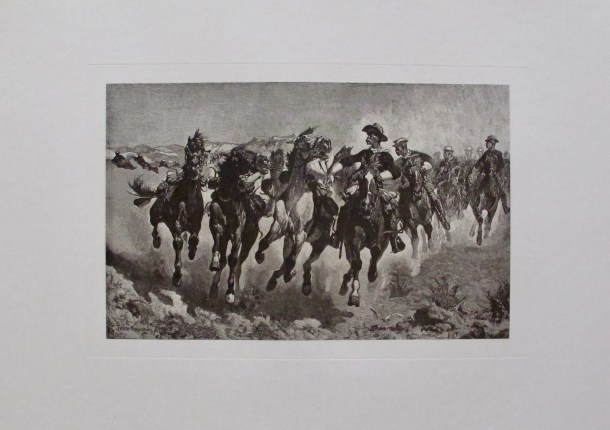 FREDERIC REMINGTON Dismounted Signed in the Plate Etching HORSES