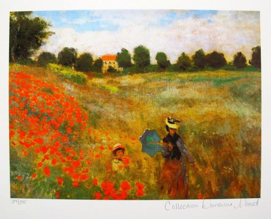 Claude Monet POPPIES NEAR ARGENTEUIL Estate Signed & Stamped Limited Edition Small Giclee