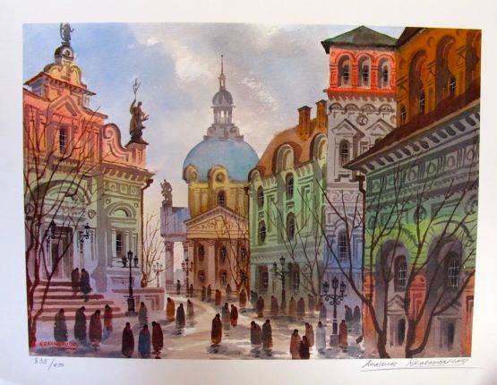Anatole Krasnyansky STREETS OF OLD ROME Hand Signed Limited Edition Lithograph