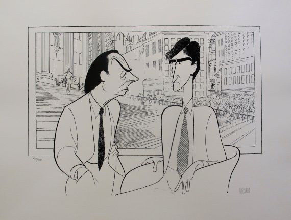"AL HIRSCHFELD ""LAW & ORDER"" Hand Signed Lithograph Jerry Orbach & Sam Waterston"