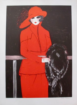 LOUISE SALOMON La Belle En Rouge Hand Signed Limited Edition Lithograph