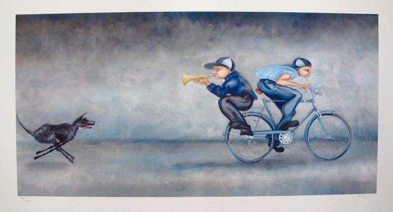 Lynn Poland SPARKY GIVES CHASE Hand Signed Limited Edition Giclee