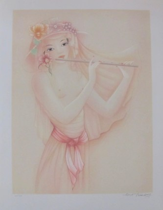 MARA TRANLONG 1975 Hand Signed Limited Edition Lithograph FLUTE PLAYER