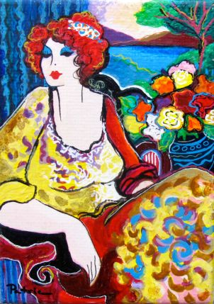 LADY BY THE LAKE Hand Signed Serigraph on Canva