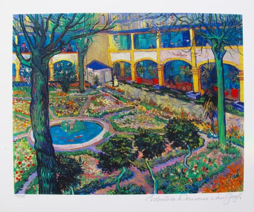 Vincent Van Gogh COURTYARD OF THE HOSPITAL AT ARLES Estate Signed Limited Edition Small Giclee
