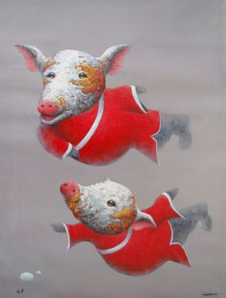 Wang Zhi ZEN PIG Limited Ed. Hand Signed Giclee on Canvas