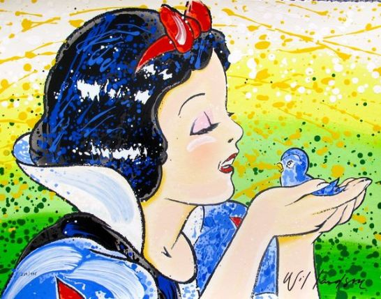 David Willardson SNOW WHITE, A FINE FEATHERED FRIEND Hand Signed Limited Ed. Serigraph