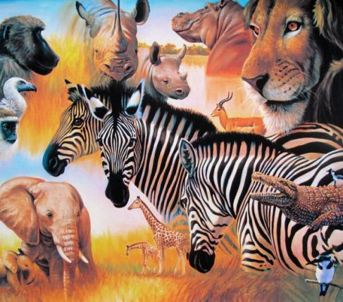 Charles Lynn Bragg AFRICAN MONTAGE Hand Signed Limited Ed. Giclee
