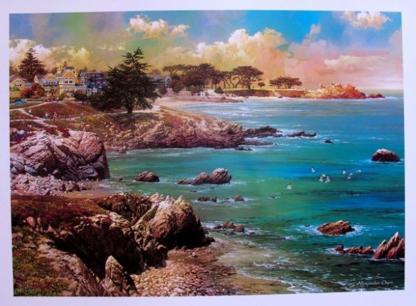 "ALEXANDER CHEN ""ALONG THE COAST"" CALIFORNIA OCEAN Lithograph Art"