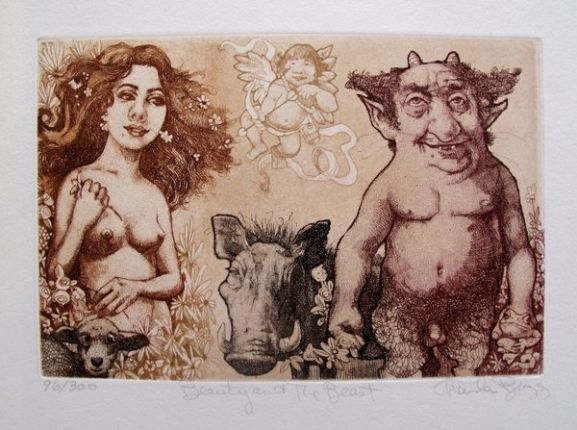 Charles Bragg BEAUTY AND THE BEAST Hand Signed Limited Ed. Etching