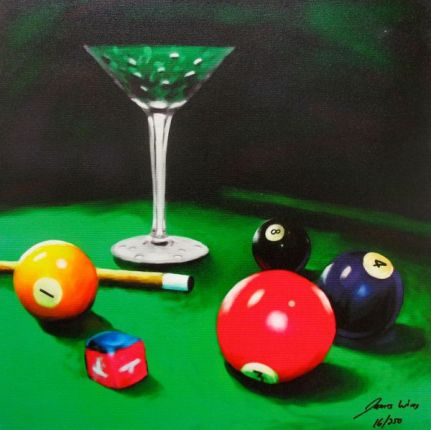 James Wing APPLE MARTINI BILLIARDS Hand Signed Limited Ed. Giclee on Canvas