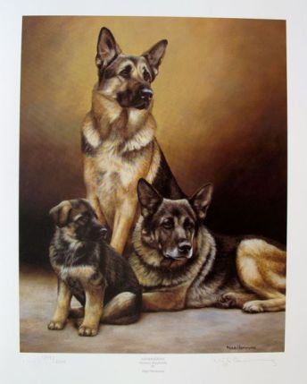 Nigel Hemming GENERATIONS GERMAN SHEPHERDS Hand Signed Limited Ed. Lithograph