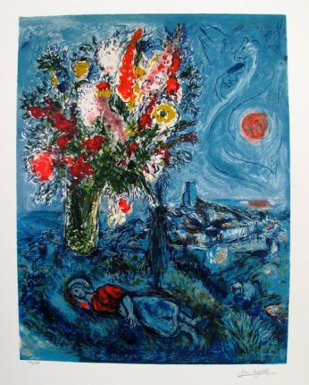 Marc Chagall LA DORMEUSE AUX FLUERS Limited Edition Facsimile Signed Giclee