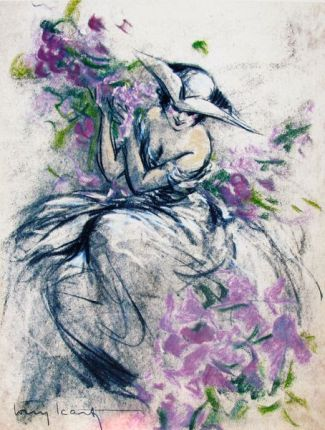 Louis Icart LAVENDER LADY Limited Edition Giclee Large