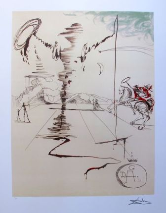 Salvador Dali DON QUIXOTE CHEVALIER SPINNING MAN Limited Edition Facsimile Signed Lithograph