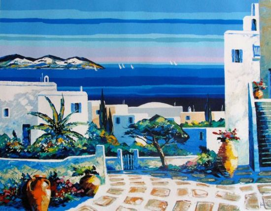 "KERFILY ""MYKONOS I"" Hand Signed Serigraph on Canvas"