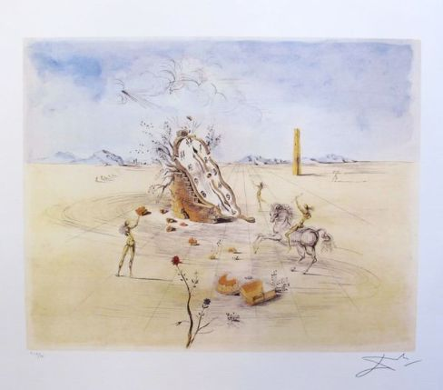 Salvador Dali COSMIC HORSEMAN Limited Edition Facsimile Signed Lithograph