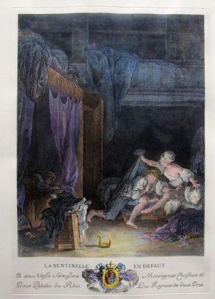Nicolas Delaunay after Pierre-Antoine Baudouin La Sentinelle en défaut Etching