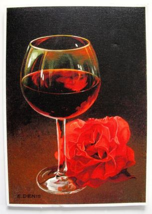 E. Denis GLASS WITH RED ROSE Hand Signed Limited Ed. Giclee on Canvas