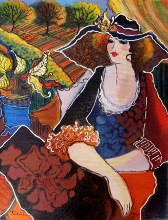 Patricia Govezensky LADY CHAPEAU Hand Signed Limited Edition Serigraph on Canvas