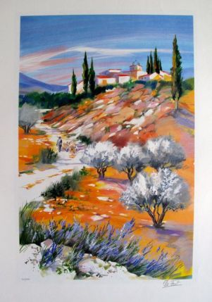 Ella Fort LANDSCAPE IN PROVENCE VALLEY 1 Limited Ed. Hand Signed Lithograph