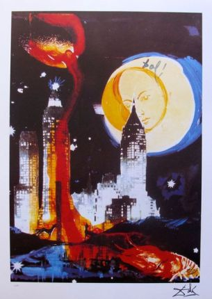 Salvador Dali MANHATTAN SKYLINE Limited Edition Facsimile Signed Lithograph