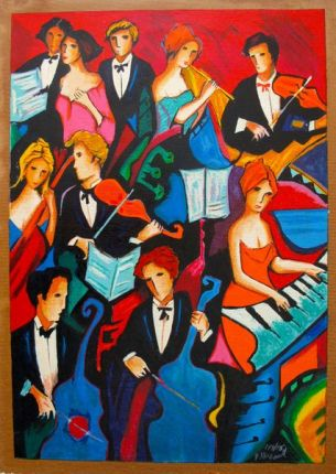 Philip Maxwell THE ORCHESTRA Limited Edition Hand Signed Serigraph on Canvas