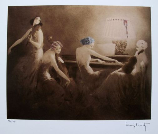 Louis Icart MELODY HOUR Facsimile Signed Limited Edition Giclee Small