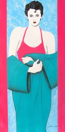 NAGEL WOMAN Hand Signed Original Oil Painting on Canvas