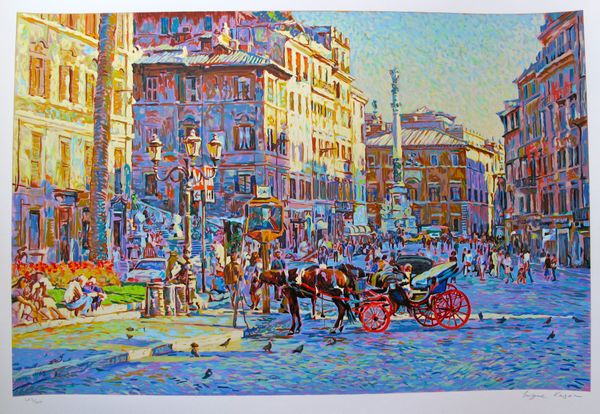 Eugene Kaspin PIAZZA IN SUNNY ROME Hand Signed Limited Edition Serigraph