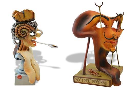 Salvador Dali PORTRAIT OF PICASSO - SELF PORTRAIT Sculpture Set
