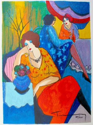 Itzchak Tarkay QUIET AFTERNOON Hand Signed Limited Ed. Serigraph