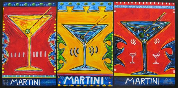 "LISA GRUBB ""TRIPLE MARTINI"" Hand Signed Limited Edition Giclee on Canvas"